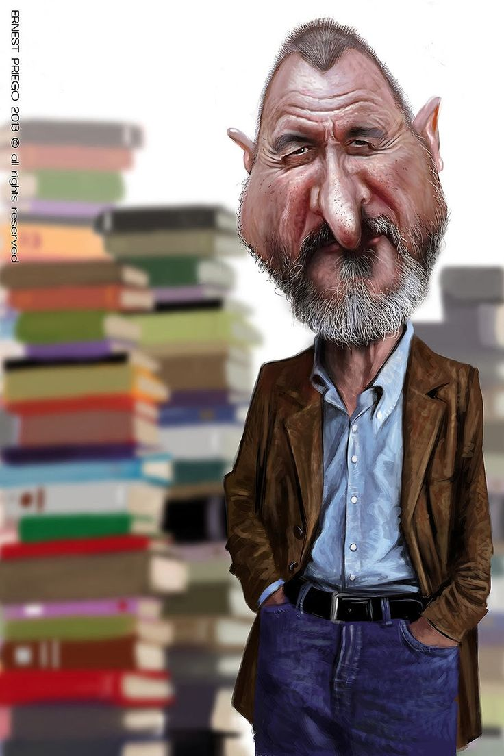 Caricatura de Arturo Pérez-Reverte.