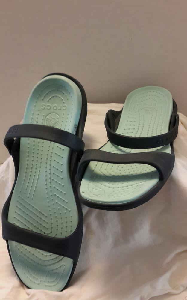 Crocs Rubber Sandals Shower Shoes Strappy Flip Flops sz 12 Blue #Crocs #FlipFlops