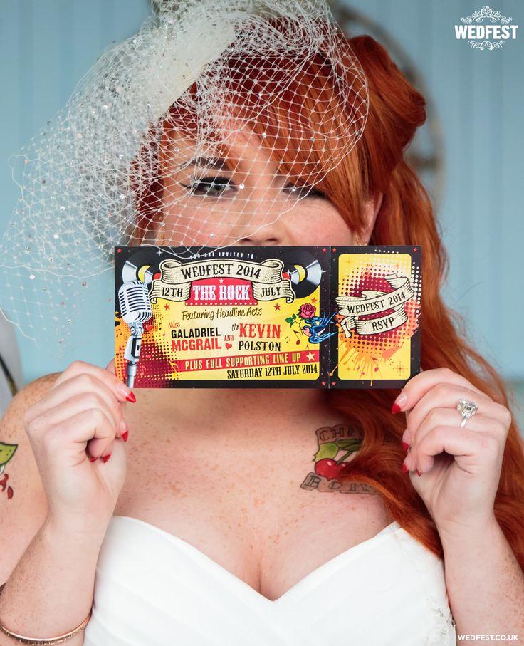 rock and roll bride rockabilly wedding invites http://www.wedfest.co/rockabilly-themed-wedding-stationery/