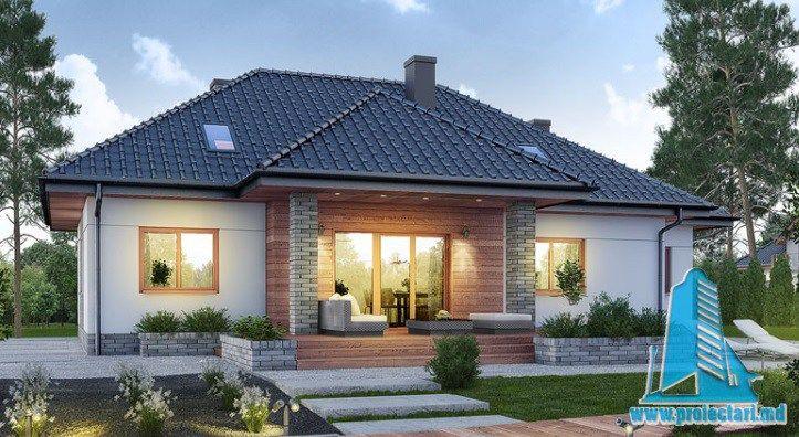 Проект жилого дома с партером, мансардой, гаражом для одного автомобиля и летней террасой-100534