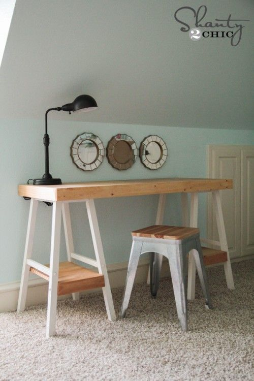 Create a desk using barstools! FREE plans and tutorial at Shanty-2-Chic.com