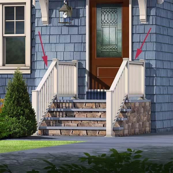 Photoshop redo cottage style for a boxy cape the for Front balcony railing