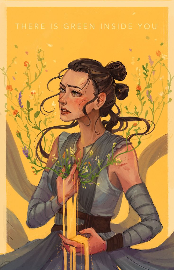 "leiaham: "" There is green inside you, desert child. Fanart of Rey from Star Wars: The Force Awakens. I felt the way Harrison Ford looked when Rey said she didn't think there was so much green in the universe. ;___; and hence, this. :) P.S. if you'll..."