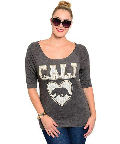 PLUS size Cali grey with Gold foil top – Fashion Pop
