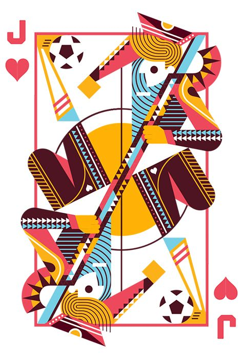 Jack of Hearts by Ricky Linn. THe geometrics, negative space, and movement on this piece work perfectly. #illustration #design #geometric