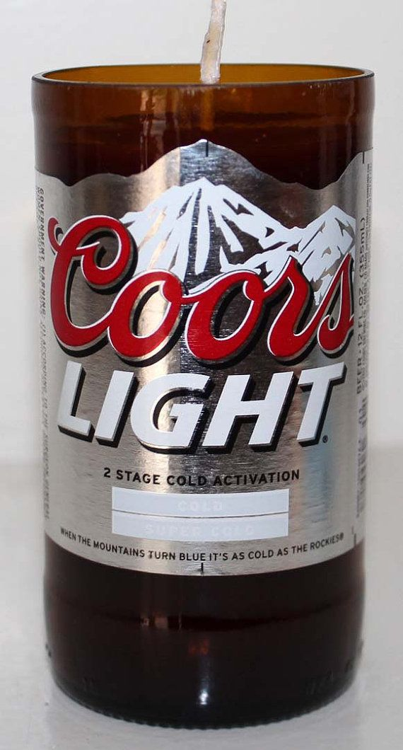 Coors Light Beer for a Rocky Mountain HIgh! Repurposed bottles now a candle