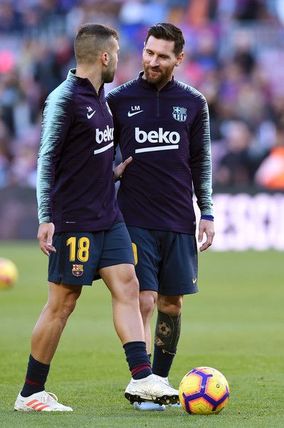 Lionel Messi and Jordi Alba of Barcelona in dicussion warm up prior to the  La Liga match between FC Barcelona and Real Betis Balompie at Camp Nou on  ... 509c330e2