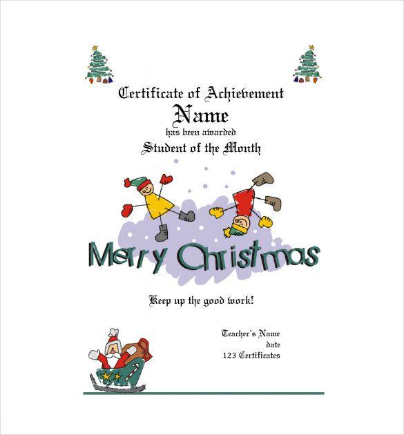 11+ Kids Christmas Certificate Templates Free Printable Word  PDF
