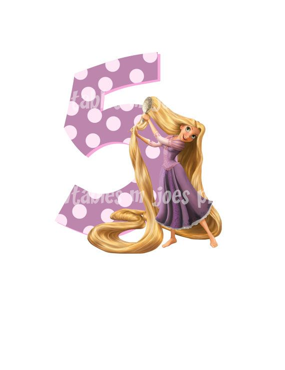Tangled Age Birthday Number DIY iron On Printable Rapunzel Disney Sweatshirt Pillowcase Shirt One Six