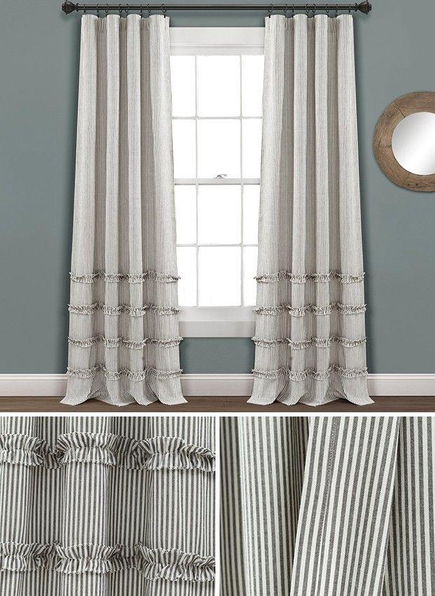 Vertical Stripe Curtain Stripe Curtains Living Room Farmhouse Style Curtains Striped Curtains #striped #curtains #living #room
