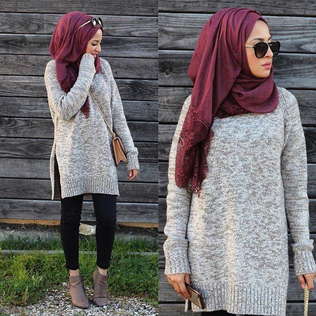 Hijab Fashion 2016/2017: chunky sweater hijab style- Hijab looks by Sincerely Maryam www.justtrendygir