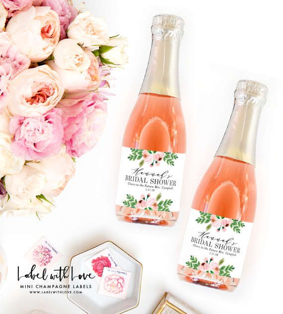 Bridal Shower Mini Champagne Bottle Labels  by LabelWithLove