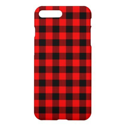 Traditional Red Black Buffalo Check Plaid Pattern iPhone 8 Plus/7 Plus Case - rustic gifts ideas customize personalize
