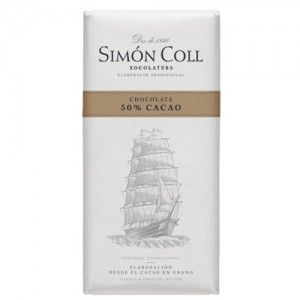 A box of 10 bars of Simon Coll Special Bitter Chocolate Blocks. Imported from Spain this extra fine dark chocolate is made with 50% cacao. Manufactured from cocoa beans to a special bitter formula this product is gluten free. Each bar weighs 85 grams.