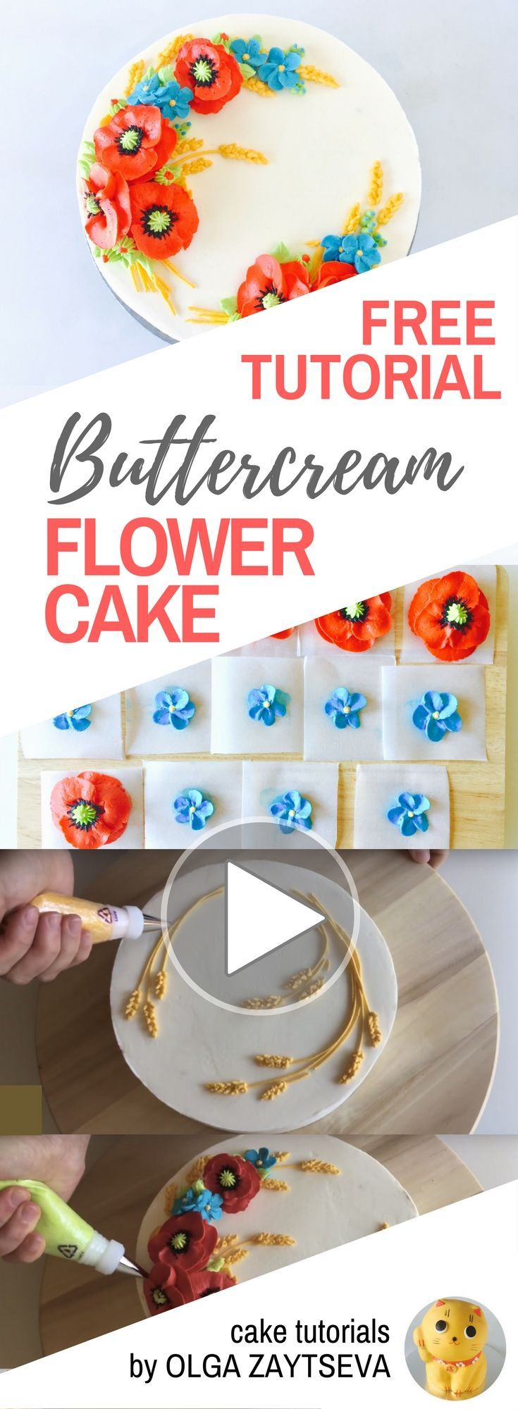 HOT CAKE TRENDS How to make Red Poppy Buttercream flower cake - Cake decorating tutorial by Olga Zaytseva. Learn how to make buttercream poppies, pipe cornflowers and wheat spikelets, and create this floral wreath cake. #cakedecoratingtutorials