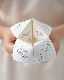 .Wedding Tables, Wedding Favors, Cootie Catchers, Childhood Memories, Wedding Games, Wedding Ideas, Wedding Stationary, Martha Stewart, Wedding Menu