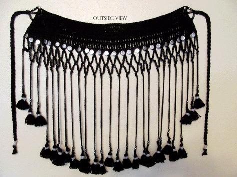 Crochet Tassel Scarf: Boho Hippy Gypsy Or Flower, Crochet Tassels, Crochet Belts, Bellydance Costumes, Tasselled Belts, Bellydancing Bling, Bellydance Belts, Bellydance Ideas