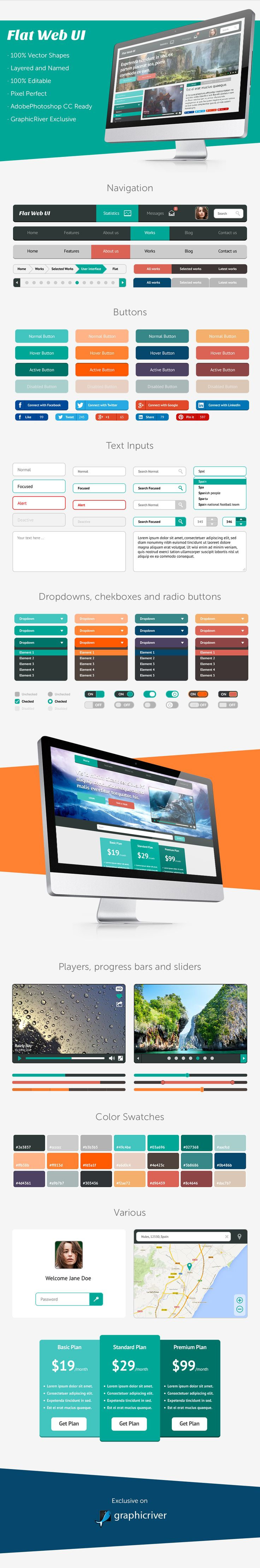 Beautiful flat web ui kit http://graphicriver.net/item/flat-web-ui/5452695?ref=graphicdesignjunction