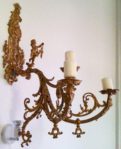 ANTIK-KRONLEUCHTER-gold-LUSTER-SAAL-LAMPE-Barock-Gold-1850-1900-Familienbesitz