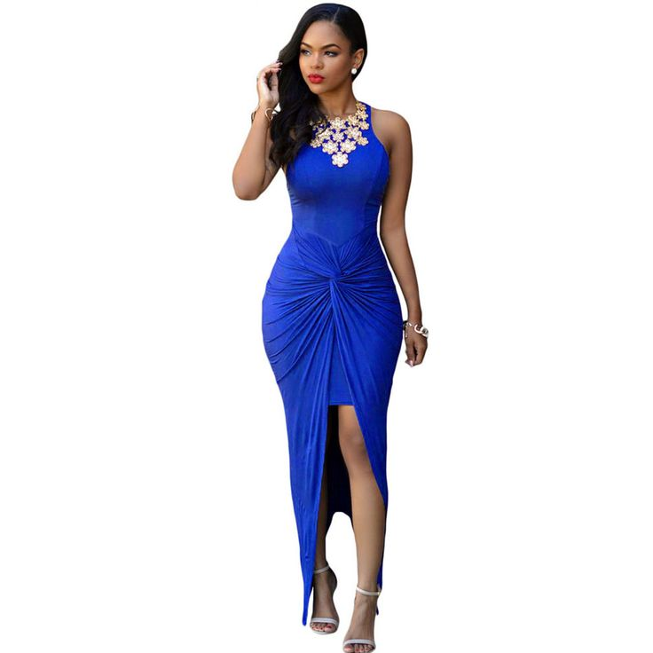 Cheap maxi dress, Buy Quality club dress directly from China dress sleeveless Suppliers: SEBOWEL 2016 Summer Style Sexy Bodycon Long Club Dress Sleeveless Tie Front Split Party Dresses Beachwear Cheap Maxi Dress