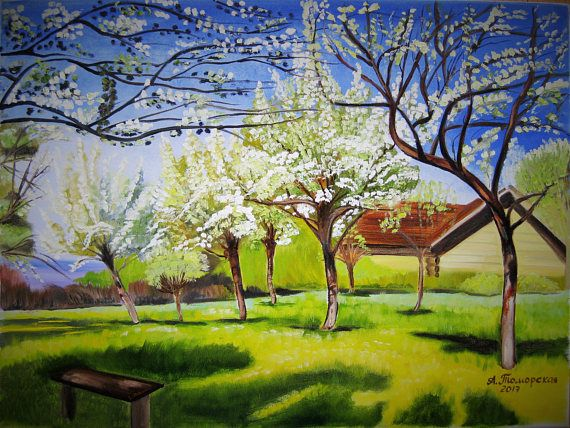 "Apple trees in Bloom inspired by Isaac Levitan. Original Oil Painting on Canvas. Landscape Painting. Wall Art. Personalized Gift. Contemporary Art. Canvas Painting. Perfect Gift for Her. Wall Decoration. 2017. 18""x 24"", 46 x 61 cm. Unframed. AVAILABLE FOR IMMEDIATE PURCHASE.   This painting was inspired by 'Apple trees in Bloom' by Isaac Levitan (1860-1900).   I have recreated this beautiful Levitan piece by hand so you can enjoy it in your own home. Display it in your own house or office..."