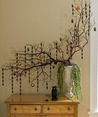 I bet I could keep this tree alive.  Maybe.: Manzanita Branches, Diy Halloween, Halloween Trees, Halloween Arrangements, Halloween Crafts, Christmas Decor, Halloween Decor Ideas, Christmas Ornament, Jewelry Trees