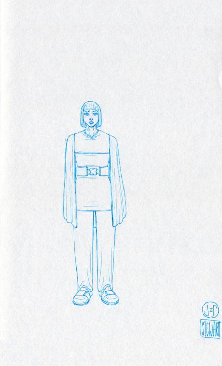 Challenge Day 188 Year 3  Muji Light Bbue 0.25mm nib pen on Studio Sketchbook.  Daily Character Design Challenge, 2017-11-29, Year 3 - No188b, by Jeff Stewart #365_day_challenge #oc #conceptart #CharacterDesign #CharacterChallenge #original_character #character_art #concept #challenge #drawing #sketch #line_art #lineart #line_drawing #linedrawing #art #artist #artists_on_tumblr #sci_fi #scifi #character_design #concept_art #character_challenge