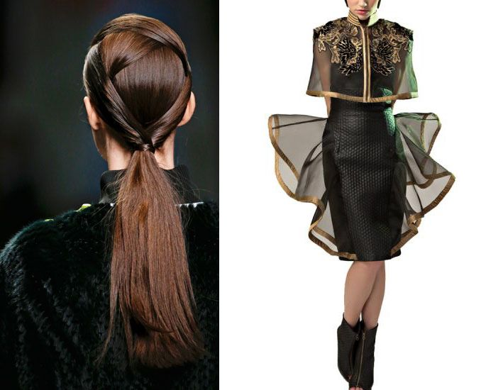 The folded hair with geometric shapes style by Fendi as seen in Vogue India in the Autumn/ Winter top beauty trends, goes perfectly with this black me...