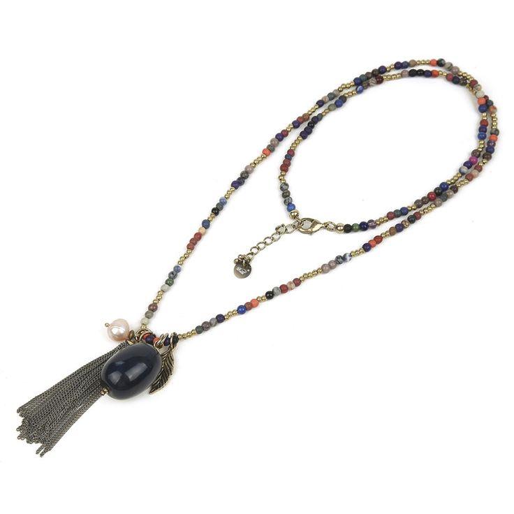 Непал ожерелье шарики ювелирных изделий с круглый камень и кисточкой ожерелье