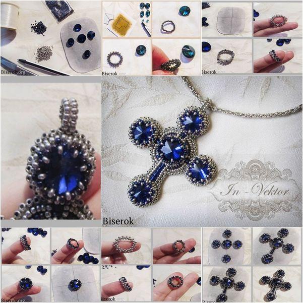 Beaded Cross Necklace Pendant http://handmade4all.com/