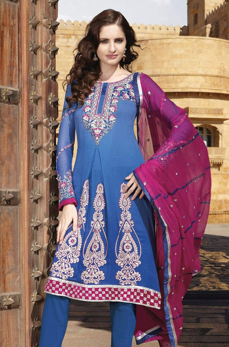 #Georgette Embroiderd #suit with chiffon Dupatta