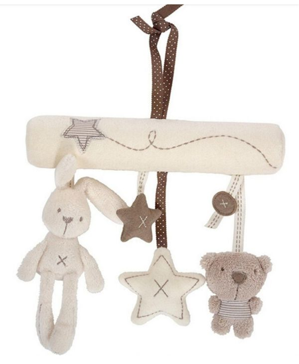 RABBIT BEAR AND STARS SUPER CUTE HANGING MUSICAL STROLLER RATTLE