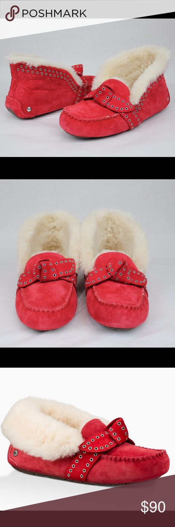 UGG POLER SLIPPERS NIB RED SUEDE 7 New in box red suede poler slippers sold out retail  $130 UGG Shoes Moccasins