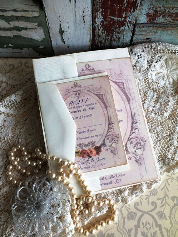 If you love vintage and are planning a vintage wedding, please take a look at this lovely romantic vintage invitation suite that Ive put together for your consideration. This is a handmade vintage soft purple wedding invitation suite that includes the invitation and envelope, the