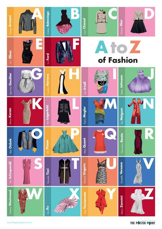 A to Z of Fashion Poster An alphabet of iconic fashion designers