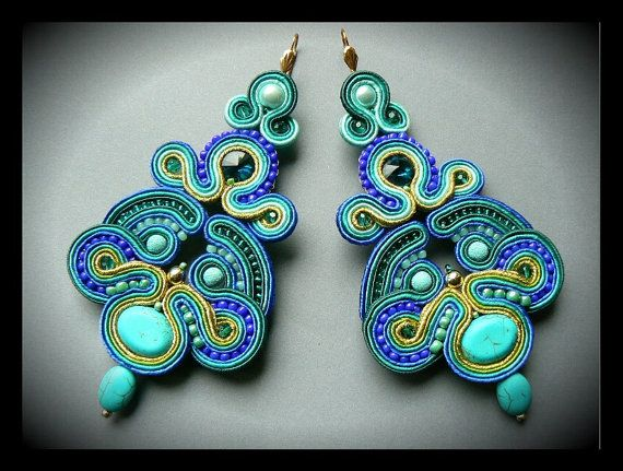 Soutache earrings Swarovski crystals turquoise by Mayasbijou €36.44 EUR on Etsy.com
