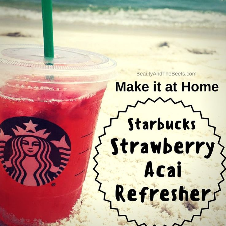 Make it at home - the Starbucks Strawberry Acai Refresher recipe. Super easy once you have all the ingredients in place. From Beauty and the Beets