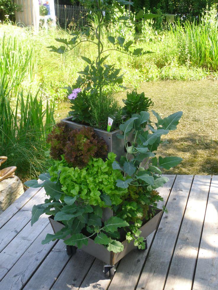 KUBI aus Edelstahl. Der KUBI ist ein perfekt abgestimmtes Anbausystem aus Erdvolumen, Bewässerung und Kompostierung. #Pflanzsäule #KUBI, #Vertical gardening