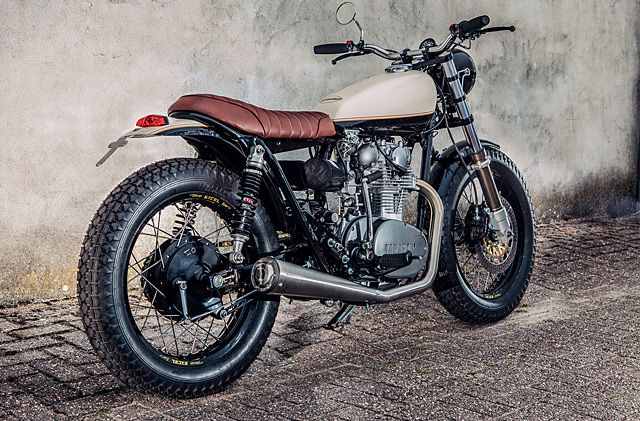 Dust off the drafting table, refill the clutch pencil and grab the dividers.Retired Dutch Architect Henk Woltjer has teamed up with local shop Motogadgets to createthe perfect motorcycle to relive his youth;it's a millimetre-exact Yamaha XS650 tracker inspired by the first bike he built some thirty years earlier.