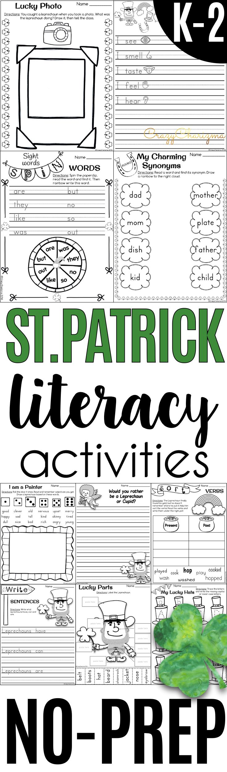 Check out NO-PREP St. Patrick's Day literacy activities for Kindergarten through Grade 2. Packet contains thematic vocabulary flashcards, practicing capital or lower-case letters, sight words spin activities, writing prompts and acrostic poem, synonyms and antonyms practice, CVC and CVCe words reading, verbs tense activities and much more! | CrazyCharizma
