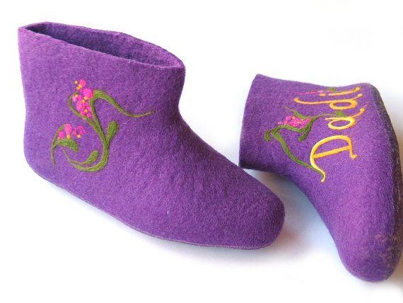 Purple Women booties with ornamentsHandmade by kristinalauciuviene, $60.00