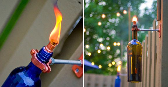 DIY Wine Bottle Tiki Torches