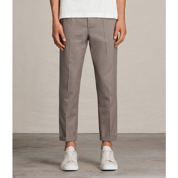 AllSaints Tallis Trouser (13.605 RUB) ❤ liked on Polyvore featuring men's fashion, men's clothing, men's pants, men's casual pants, soft khaki green, mens slim fit khaki pants, mens green khaki pants, mens slim khaki pants, mens drop crotch pants and mens cuffed pants