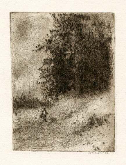 Bohuslav Reynek Postava v krajině / Figure in the Landscape suchá jehla / dry point 18 x 14 cm, otisk z původní desky, 60. léta