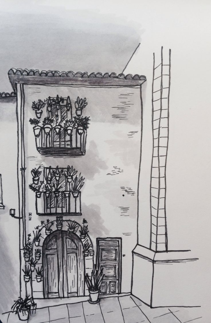 House in Spain, fineliner and promarkers