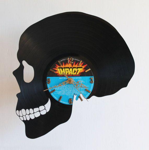 Handcarved Skull vinyl record clock record clock by TikalTextiles