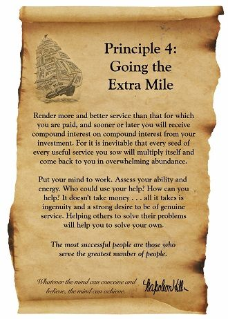 Napoleon Hill Foundation Going The Extra Mile scroll