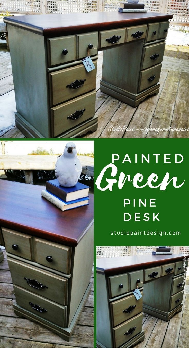 Painted and Refinished Pine Desk.  Annie Sloan Chalk Paint General Finishes Java Gel Stain DIY Inspiration #paintedfurniture #painteddesk #anniesloan #chalkpaint