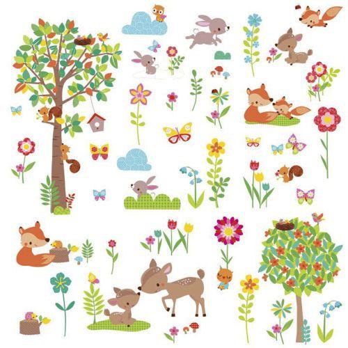 Amazing Wandtattoo Tiere des Waldes Babyzimmer Wandsticker Baum Waldtiere RoomMates NEU