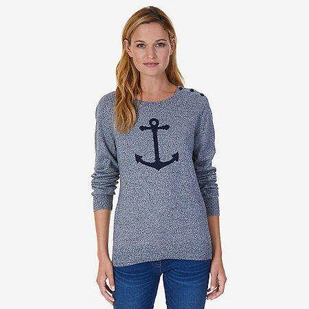 Nautica Long Sleeve Intarsia Anchor Sweater